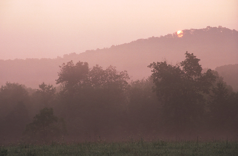 Sunrise over the top of Big Round Top.