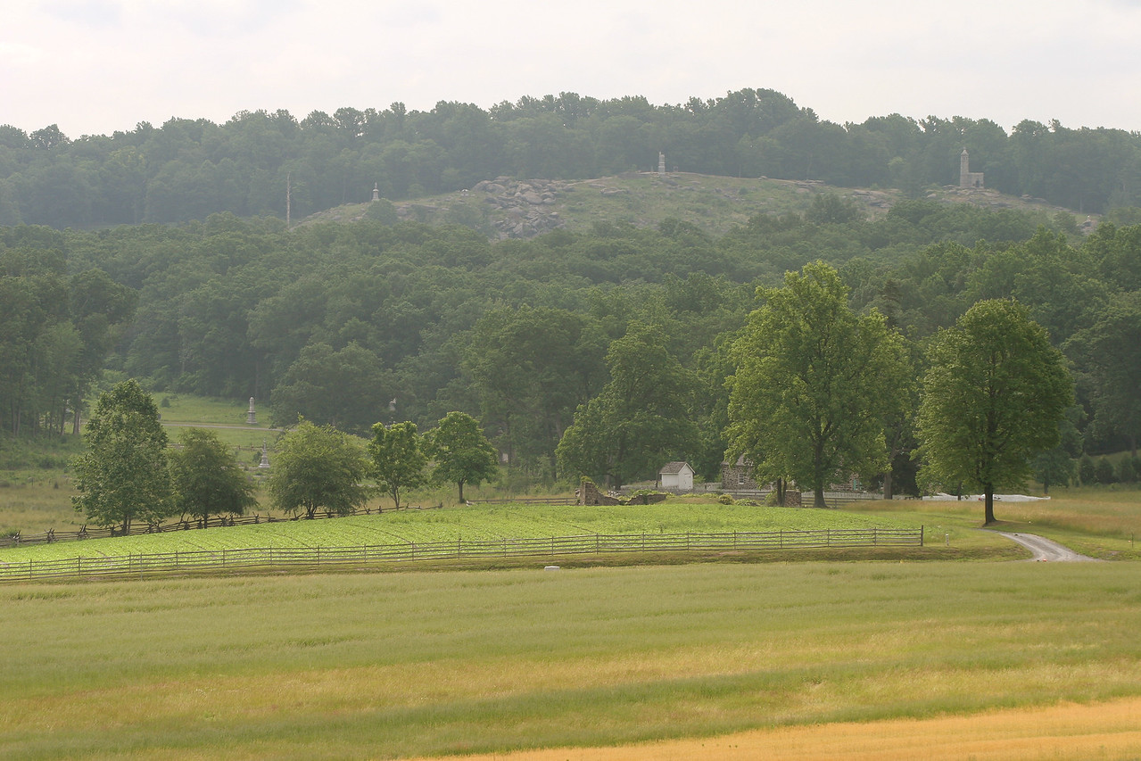 View across the bloody Wheatfield to Little Round Top.