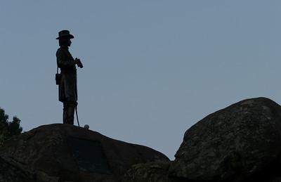 Gouverneur K. Warren statue on Little Round Top.