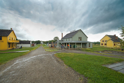A photo of Walnut Hill, at Living History Farms, on a rainy day.