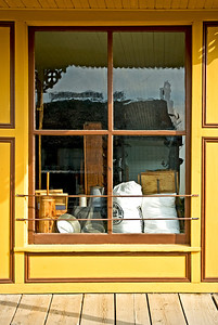 The window at Greteman Brothers General Store in Walnut Hill showing the items they would have sold in 1875.
