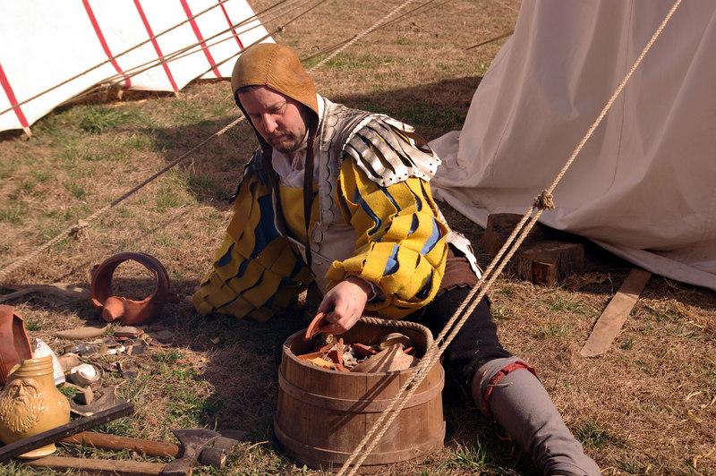 """Herr Grüber sifts through the trash pile - Das TeufelsAlpdrücken Fähnlein (Devil's Nightmare Regiment) - <a href=""""http://www.landsknechts.org/"""">http://www.landsknechts.org/</a>"""