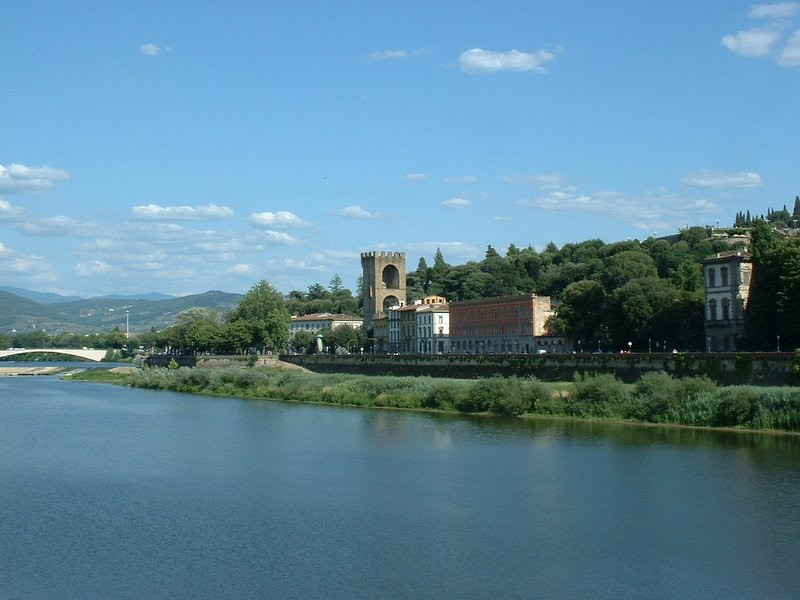 Looking downriver on the Arno, from Florence