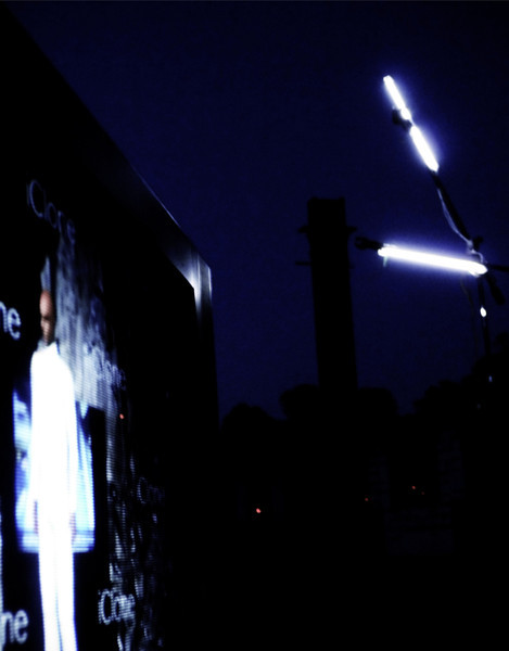 Dark silk - 2013 - tv monitor - animation - cathode tubes - microphone stands