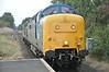 Deltic <br /> <br /> 55 002 Kings own Yorkshire Light Infantry <br /> <br /> with <br /> <br /> Class 37 <br /> <br /> D6700 <br /> <br /> ex 37 119 / 37 350 <br /> <br /> 3rd Sept 2014 <br /> <br /> Working <br /> <br /> 0Z58 17.02 National Rail Museum (NRM) - Grosmont NYMR <br /> <br /> Loco Move <br /> <br /> Gypsy Lane
