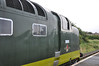 Nose end of Deltic <br /> <br /> D9009 eases into the Platform at Gypsy Lane