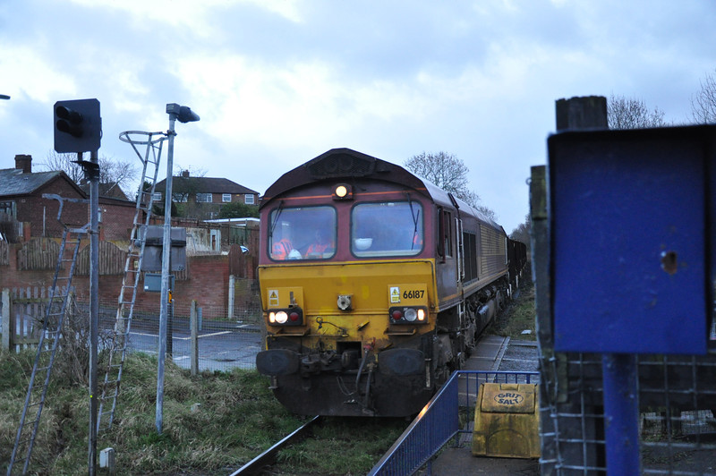 66 187 <br /> <br /> Gypsy Lane <br /> <br /> Working Grosmont - Tees Yrd Seacows on Ballast empty's for NYMR