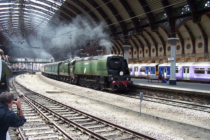 This was Liz's first attempt steam shots and i thought for a first go she did very well.<br /> <br /> Anyway the above & the next two picturesare of 34067 Tangmere working 1Z47 09.20 York Scarbrough Via Harrogate Scarbrough Spa Express York 26/05/08