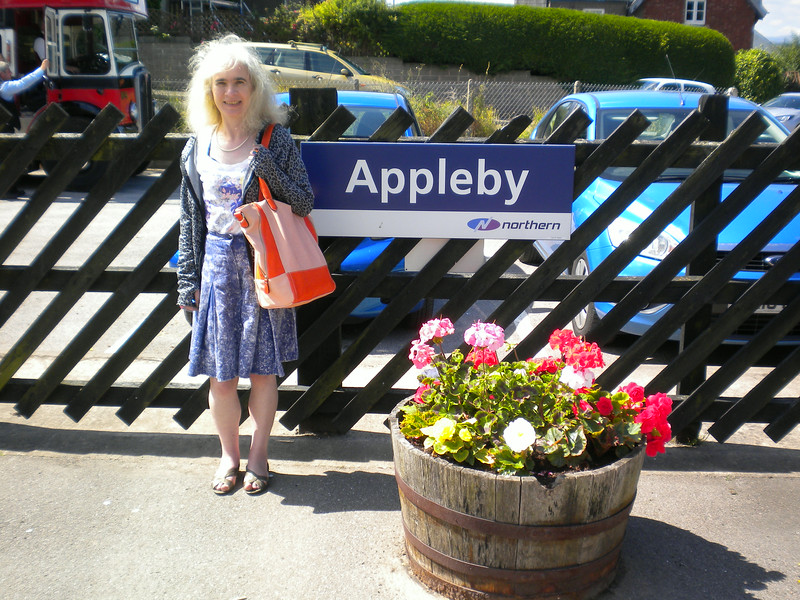 Pic by Ghost Station Man <br /> <br /> Liz at Appleby <br /> <br /> we have done the Settle and Carlisle a few times together but this was the first time that we had ever got off well worth getting off to look around the booking hall and some of the pictures and history of the place