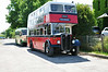 The vintage buses front on