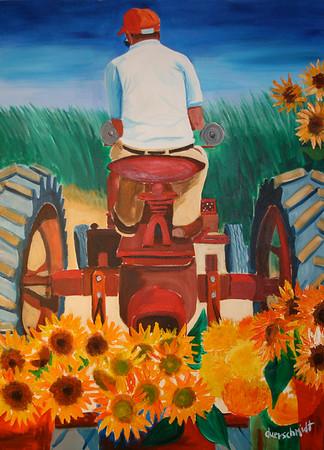 Tractor Hauling Sunflowers