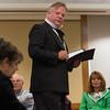 Actor Joseph Zamparelli, as District Atorney Hosea Knowlton questions Lizzie Borden played by Lynne Moulton during a performance at Leominster Library. SENTINEL&ENTERPRISE/ Jim Marabello