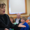 Actress Lynne Moultonas Lizzie Borden, explains her innocence to the audience during a performance at Leominster Library. SENTINEL&ENTERPRISE/ Jim Marabello