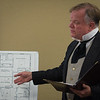Actor Joseph Zamparelli, as District Atorney Hosea Knowlton describes the house of Lizzie Borden during a performance at Leominster Library. SENTINEL&ENTERPRISE/ Jim Marabello
