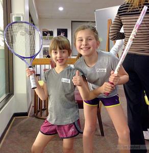 Lizzie's first tennis lesson