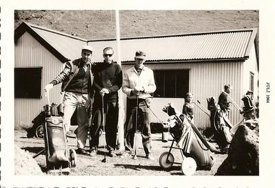 Íslandsmót í golfi, Vestmannaeyjum, 1964. Viðar Þorsteinsson, Kári Elíasson, Ólafur Hafberg.