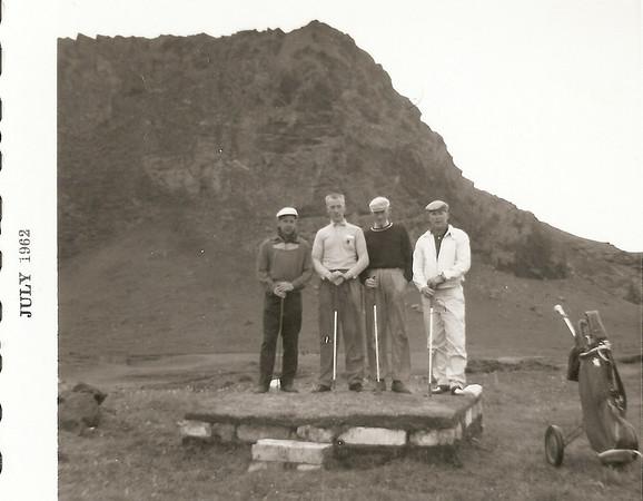 Íslandsmótið, Vestmannaeyjum 1962. Fv, Geir Þórðarson GR, Guðni Grímsson GV, Alfreð Þorgrímsson GV, Albert Wathne GR.