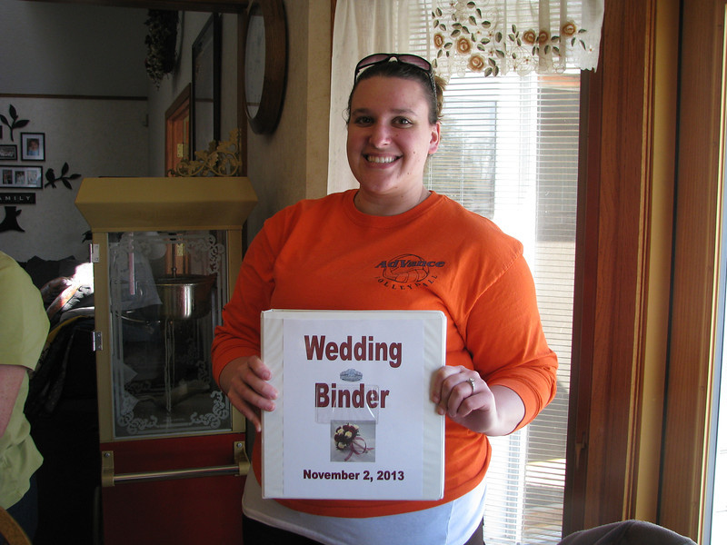 Becky Wilfong - showing her wedding planning book