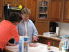 Toni Sultzer teaching her cooking class 101!   Barbara Ward getting an A!