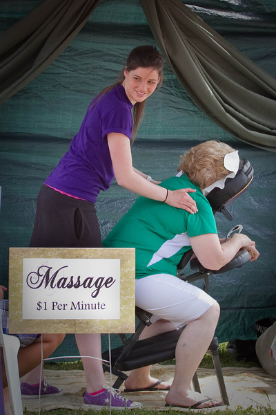 Kristen Cripps set up her massage chair and offered massage for $1.00 per minute, all to be donated to the cause.