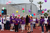 Once all walkers completed the first lap they paused and all let their balloons go at the same time.  Very symbolic of release the cancer I thought.