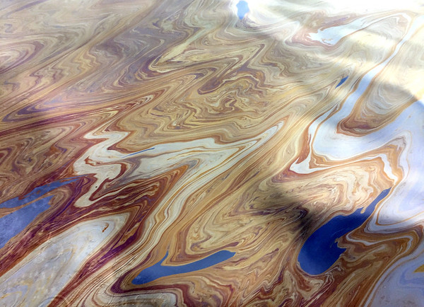 Oil slick on the water – beautiful patterns but a sad reminder of the Refugio oil spill in May