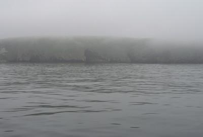 Approaching Santa Cruz in the fog