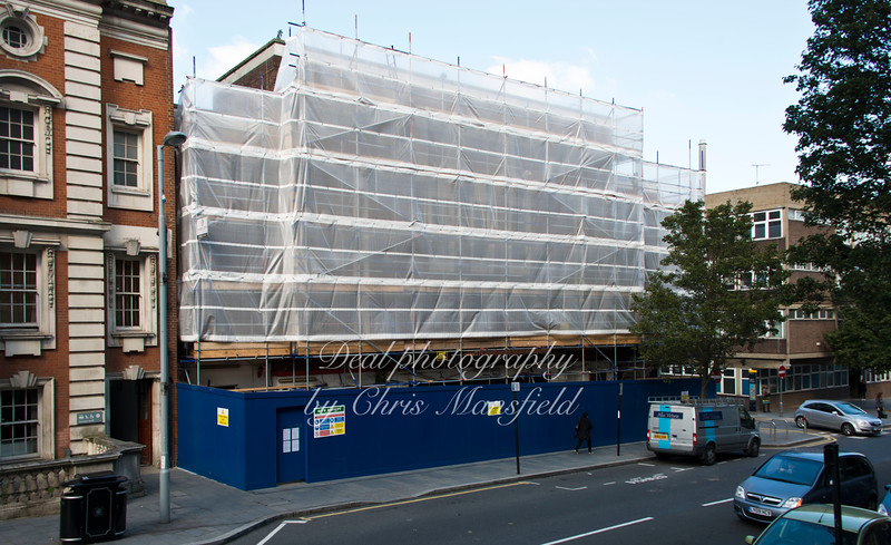 Oct' 1st 2015.  Cinema building now shrouded in plastic sheeting