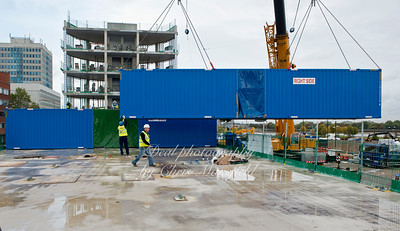 October 18th 2012.  Modular bedrooms being lifted into position