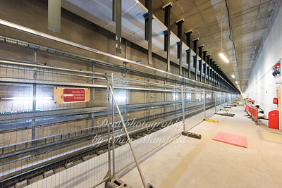 Crossrail platform ..  The wall on the right is only temporary and will be removed later to made one wide platform