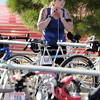 Jane Gustafson of Strasburg prepares to begin the bike section of the race