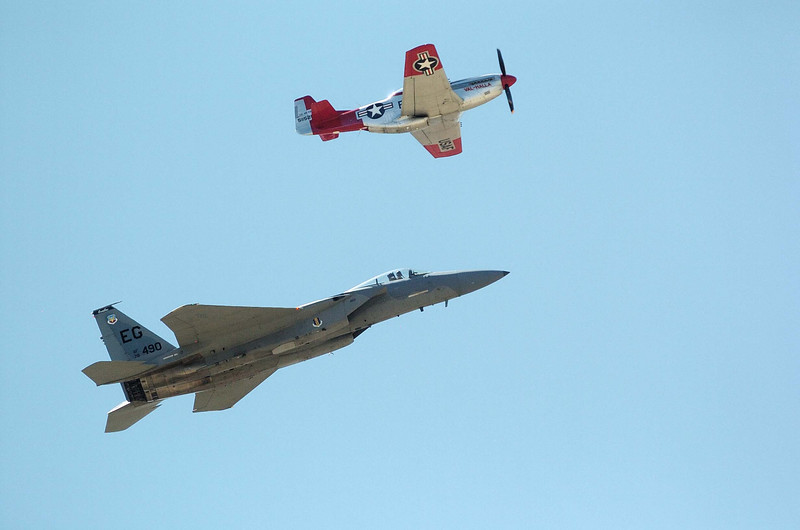 Heritage Flight WWII P-51 Mustang with F-15 Eagle