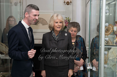 17th Feb 2015 . The Duchess of Cornwall visits the Greenwich fan museum of which she is a Patron