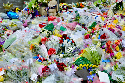 Outside the army Barracks in Woolwich these floral tributes are arriving every few minutes.. This picture was taken at midday on May 24th and I reckon there were at least 500 and growing fast.