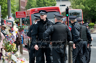 Saturday June 1st 2013.  A strong presence of Met' Police territorial support group was on hand in case BNP supporters ignored their ban on marching through woolwich.. By Midday it was clear that there was not going to be any trouble and these officers left.