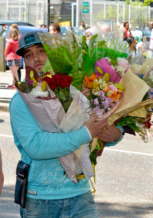 Malik Kenoa from the Birmingham Black and Muslim community delivers bunches of flowers from the people of Birmingham. May 26th 2013