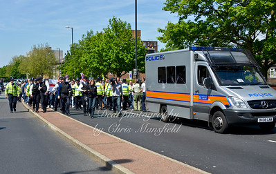 A peaceful procession of more than 1000 people make there way up John Wilson street on Sunday May 26th .  They stopped at the murder scene chanting Lee Rigby's  name and a few other patriotic songs.  Then they moved on to the Barracks entrance .
