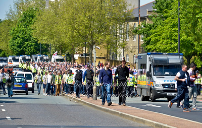 A peaceful procession of more than 1000 people make there way up John Wilson street on Sunday May 26th . They stopped at the murder scene chanting Lee Rigbys name, singinging 'For he's a jolly good fella'.. 3 cheers for Lee Rigby..... and a few other patriotic songs. Then they moved on to the Barracks entrance .