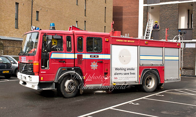 trainees arrive by fire engine
