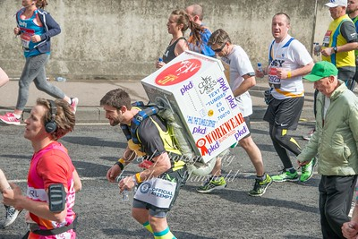 Phil Box has run several marathons with a tumble dryer strapped to his back