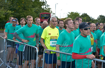 Runners come to a standstill waiting to get through the parade ground gates