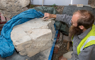 Aug' 23rd 2018.  Repairing masonry from the Pulpit