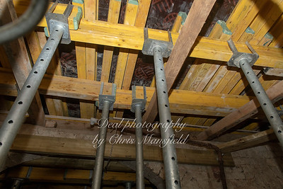 Nov' 28th 2018.  temporary supports for the new floor that will soon be laid ... viewed from below