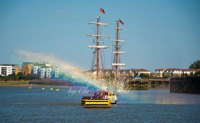fire boat rainbows