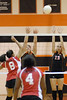 Kelsie Edmondson and Katie more try to block a spike from Auburn Ashley
