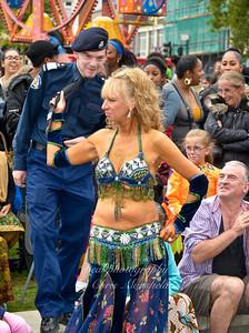 Belly dancer tows Police cadet