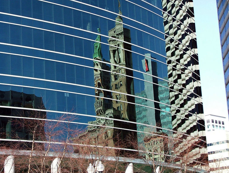 Oakland Tribune Tower reflection Downtown