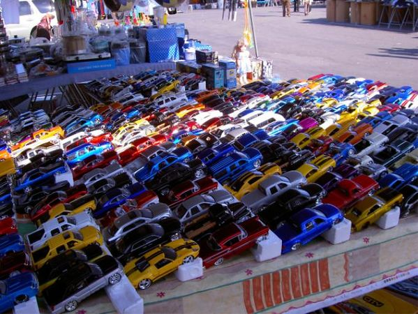 Toy car vendor at San Jose Fleamarket.