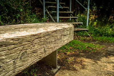 Inscribed seat noting this area's former use by the Bedlam Point Ferry.