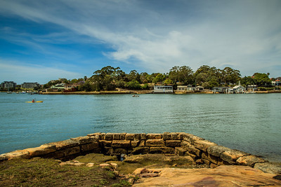 At 200m, this - Bedlam Point over to Abbotsford - is the narrowest point of the Parramatta River below Homebush Bay; and was selected by Surveyor-General Major Thomas Mitchell as the crossing point. A small cable-driven punt operated here from 1832 to the 1860s.